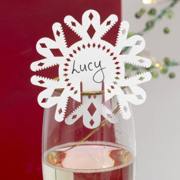 Merry Christmas - Pearl White Place Cards For Glasses (10)